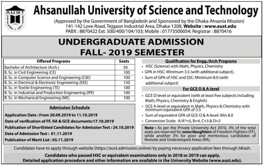 Ahsanullah University of Science and Technology (AUST) Admission and Ranking