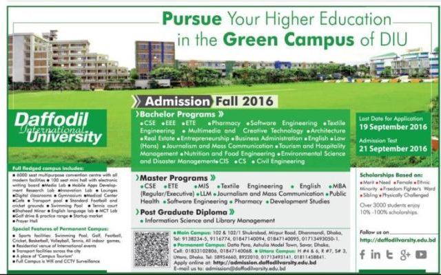 Daffodil International University Admission Fall 2016